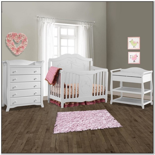 Crib And Changing Table Set White