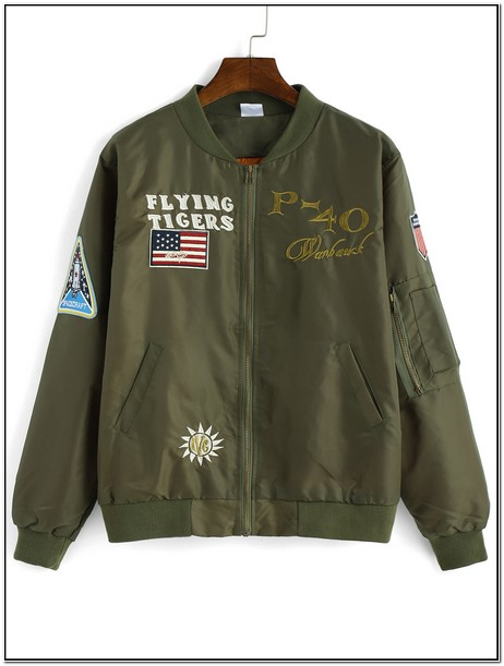 Army Green Jacket With Patches