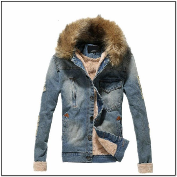Cheap Mens Denim Jacket With Fur Collar