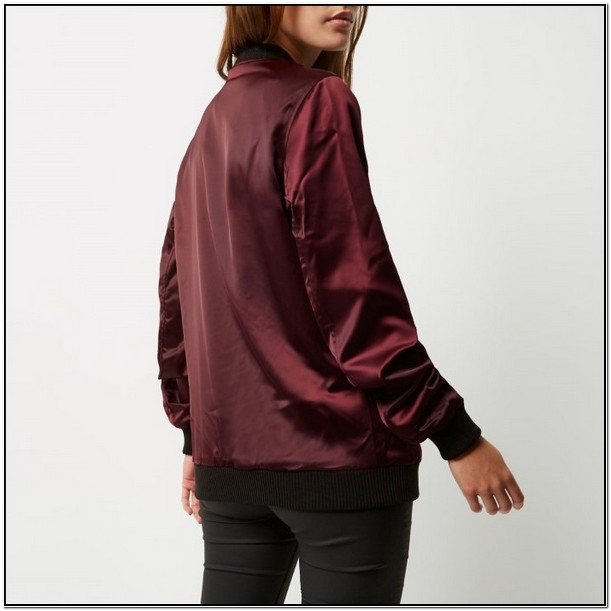 Dark Red Bomber Jacket Womens