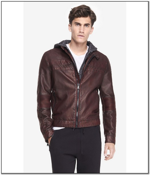 Express Mens Leather Jacket With Hood