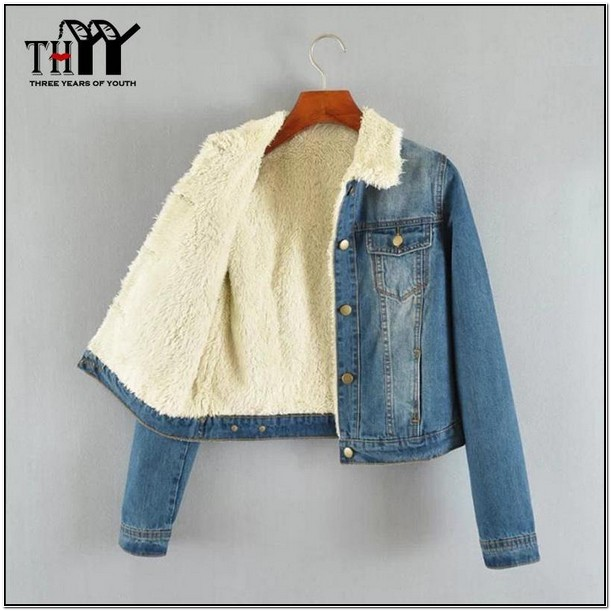 Jean Jacket With Fur Collar Womens