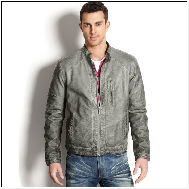 Kenneth Cole Mens Leather Jackets Grey