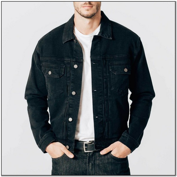 Mens Black Denim Jacket With Patches