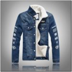 Mens Denim Bomber Jacket With Fur Collar