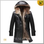 Mens Fur Lined Leather Hooded Jacket