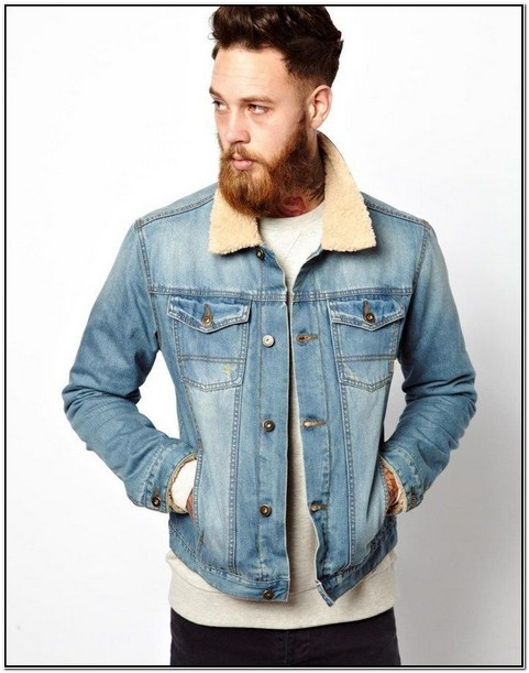 Mens Light Denim Jacket With Fur Collar