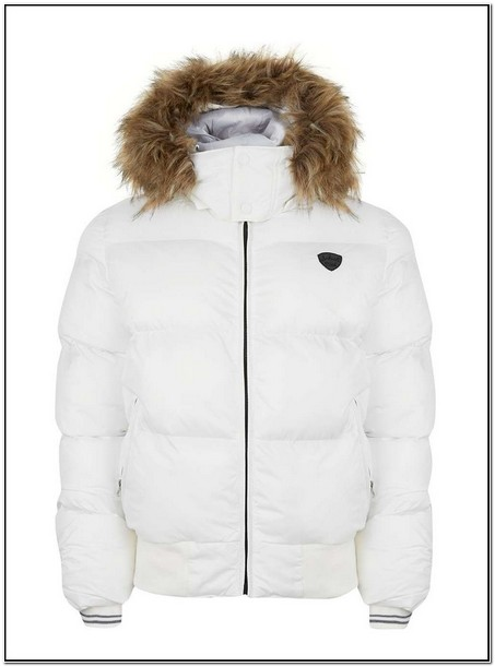 Mens White Puffer Jacket With Fur Hood
