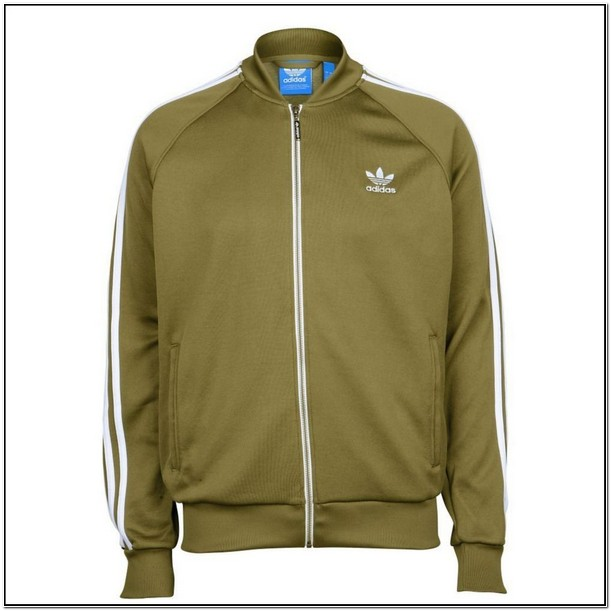 Olive Green And White Adidas Jacket